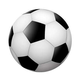 Realistic classic soccer ball, black and white on blank background. Team sports. Isolated vector