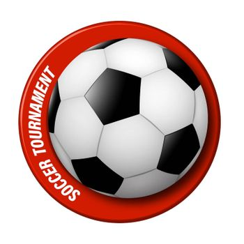realistic soccer ball with a ring around. Logo for the championship, football competition. Team sports, active lifestyle. Isolated vector on white background