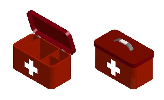 red first aid kit for emergency resuscitation in open and closed form. Set of lifeguard and medical worker to treat a patient. Isolated 3D vector on white background