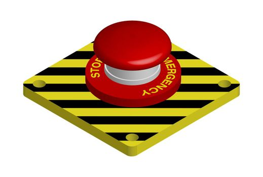 red emergency button with black and yellow stripes. Actions in a dangerous situation. Realistic 3d vector on white background