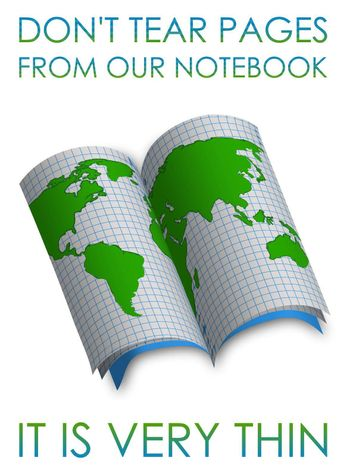 Save our planet. Scouring school notebook with a picture of the continents and continents of the Earth. Conservation of nature, ecology concept. Illustration on white background