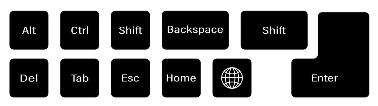 set of additional keyboard keys on a white background. Alt, Ctrl, Enter, Backspace, Esc, globe, Shift. Isolated vector