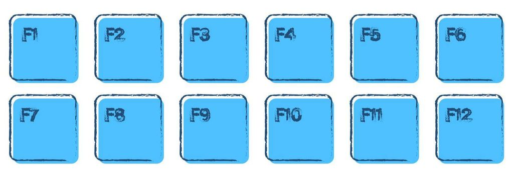 set of auxiliary keyboard keys from F1 to F12 drawn in ink and blue colors. Isolated vector on white background