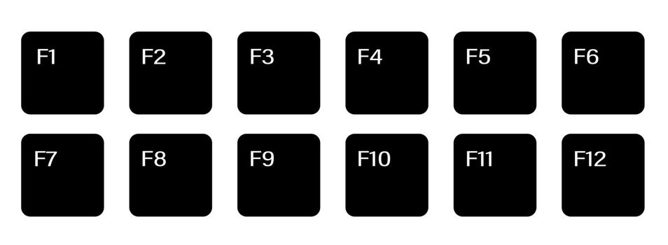 set of auxiliary keyboard keys from F1 to F12. Isolated vector on white background