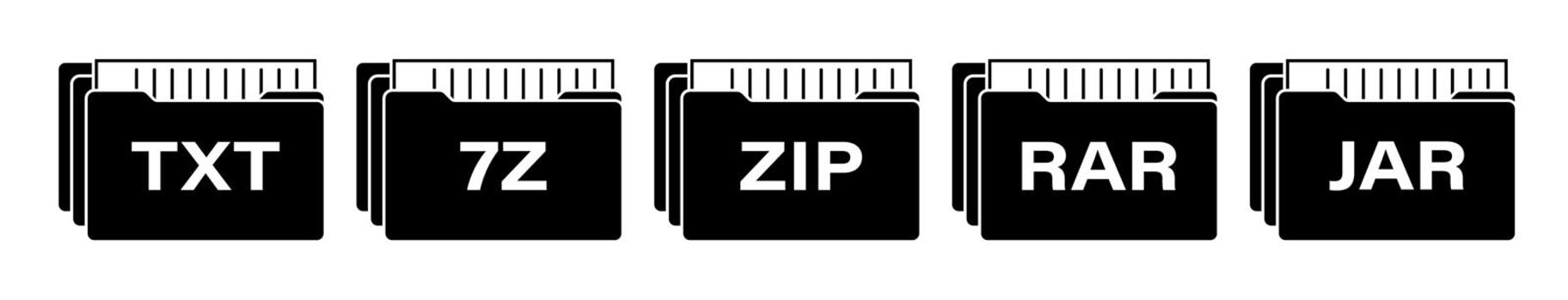 set of black icons of computer data archives with various extensions. Storage and sending large volumes of information on Internet. Isolated vector on white background