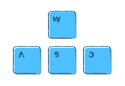 Set of gaming keyboard keys A W S D on a white background drawn in ink and blue colors. Isolated vector