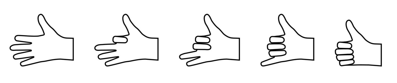 set of gestures with bent fingers. Icons in a linear style. Gesticulation. Vector on a white background