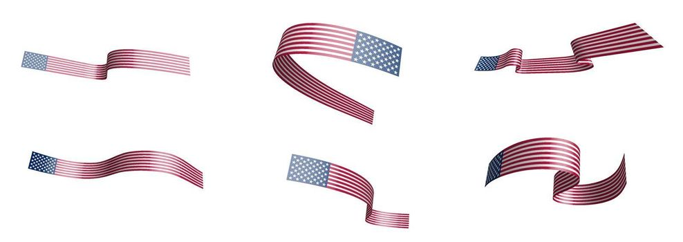 Set of holiday ribbons. American flag waving in the wind. Separation into lower and upper layers. Design element. Vector on a white background