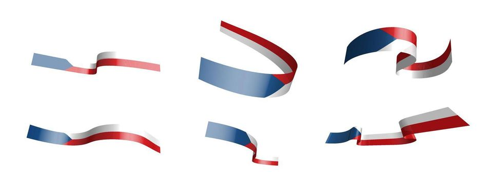 Set of holiday ribbons. Czech Republic flag waving in the wind. Separation into lower and upper layers. Design element. Vector on a white background
