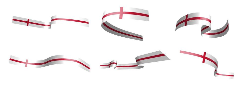 Set of holiday ribbons. English flag waving in the wind. Separation into lower and upper layers. Design element. Vector on white background