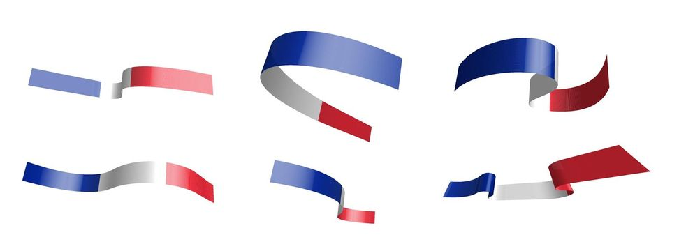 Set of holiday ribbons. Flag of France waving in the wind. Separation into lower and upper layers. Design element. Vector on a white background