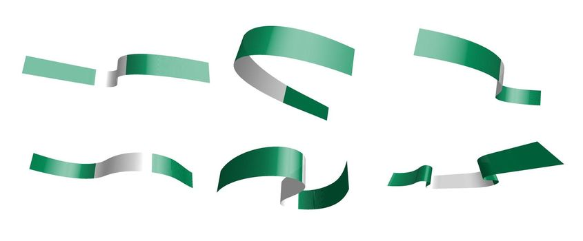 Set of holiday ribbons. Flag of Nigeria waving in the wind. Separation into lower and upper layers. Design element. Vector on a white background