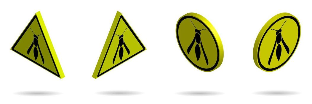 Set of isometric yellow black danger signs, attention. The attack of poisonous insects. Isolated vector