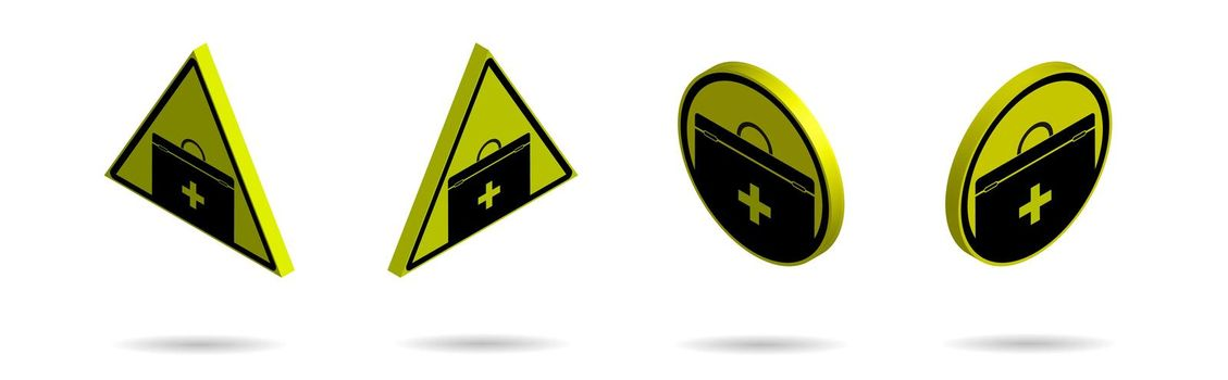Set of isometric yellow black signs, attention FIRST AID STATION. Health hazard during work or summer break. Isolated vector