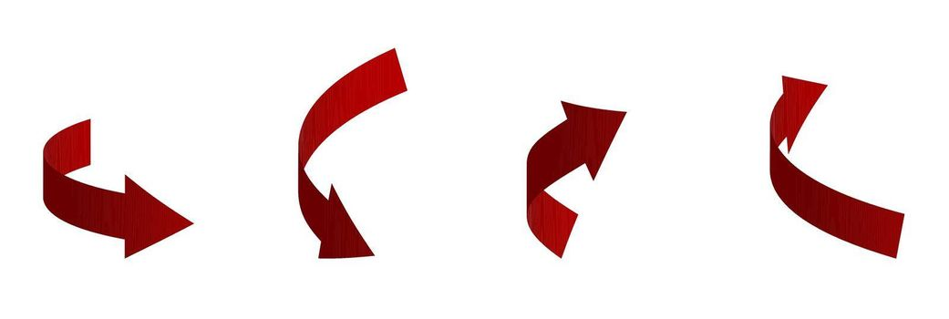 set of red 3D arrows of different shapes. Direction indicators. Isolated vector on white background