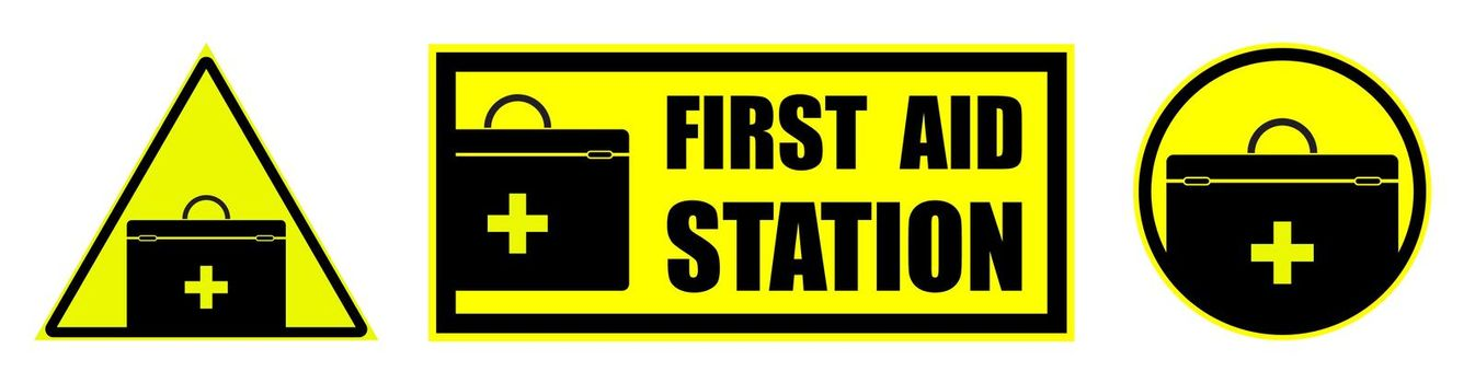 Set of yellow black signs, attention FIRST AID STATION. Health hazard during work or summer break. Isolated vector