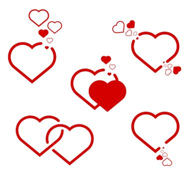 sign set of two hearts. Love, mutual feelings. Red on a white background