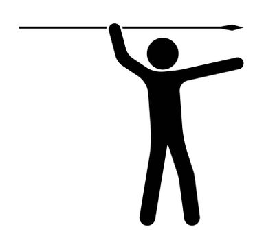 Stick figure, man holds a spear in his hands and waved for a throw. The choice of purpose and direction of movement. Isolated vector on white background