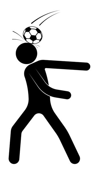 stick figure, man is playing soccer. Ball unexpectedly hit the player in the head. Injury during the competition. Team sports. Isolated vector on white background