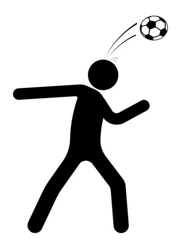 stick figure, man is playing soccer. Hit the ball with his head. Team sports. Isolated vector on white background
