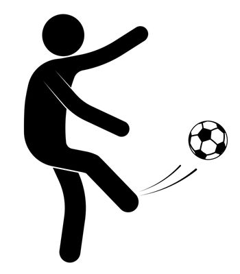 stick figure, man is playing soccer. Kicked the ball. Team sports. Isolated vector on white background