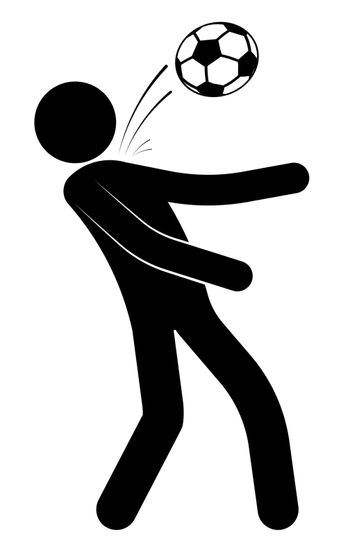 Stick figure, man is playing soccer. Hits the ball with his chest. Team sports. Isolated vector on white background