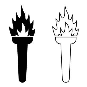 torch icon with a burning fire. Road lighting. Isolated vector on white background