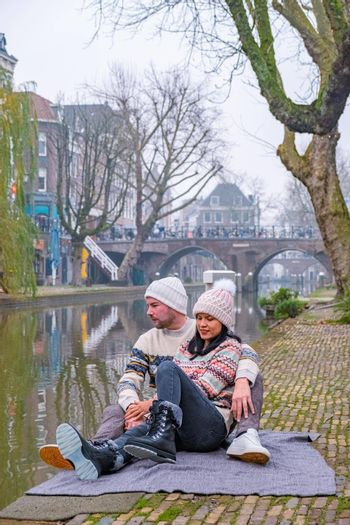 Traditional houses on traditional houses on the Oudegracht Old Canal in the center of Utrecht, Netherlands Holland Europe