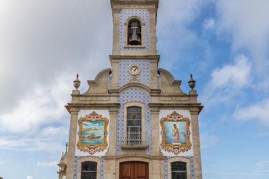 Mar, Esposende near Braga, Portugal: architectural detail of the church of S. Bartolomeu de Mar in a small village in northern Portugal on an autumn day