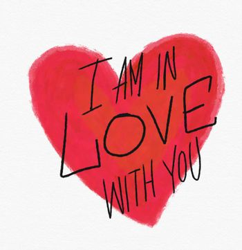 I am in love with you word and red heart watercolor painting illustration