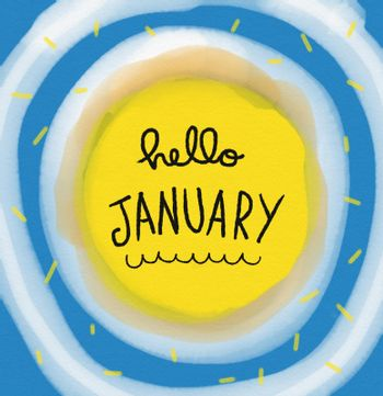 Hello January word on yellow and blue round abstract watercolor painting illustration