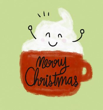 Merry Christmas coffee cup and smile face watercolor painting illustration