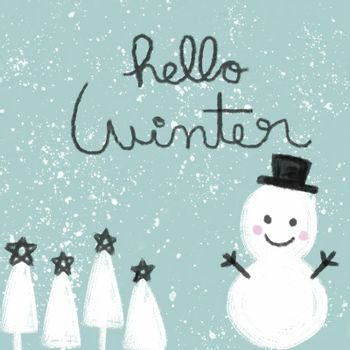 Hello Winter word and snowman watercolor painting illustration