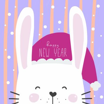 Cute white rabbit wear New Year hat watercolor painting illustration