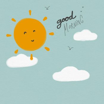 Good morning sun and sky watercolor painting illustration
