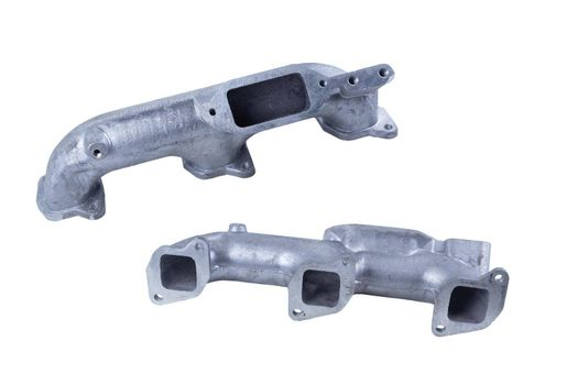 the left intake manifold for engines of the Russian cargo car, isolated on a white background. front and rear view