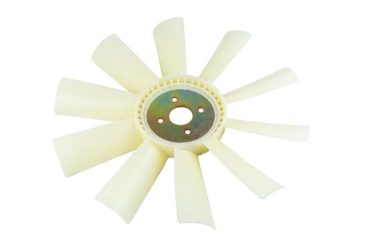 new car radiator cooling fan on white background.