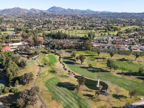 Aerial view of golf during, Rancho Bernardo, San Diego County, California. USA.