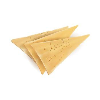 Three triangular yellow slices of appetizing cheese.