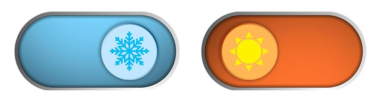 Climate control regulator. Button with sign of cold, snowflakes and heat, sun. Sliders with signs of acceptance and rejection. User interface. Electronic thermostat control. Isolated vector
