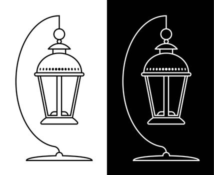 Icon. Street lamp with a candle on a stand. Lanterns and lighting for the holidays. Black and white vector