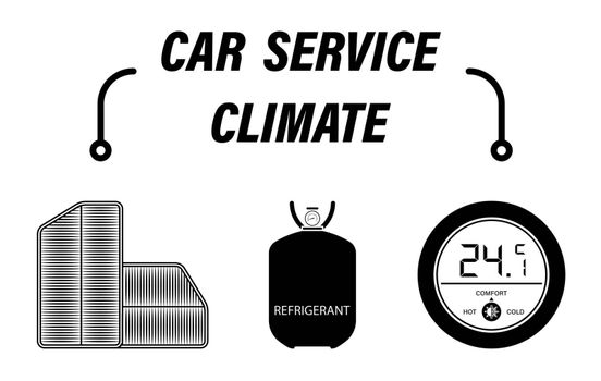 Infographics, car repair service. Refrigerant refueling, air filters and climate control in car. Set of vector icons