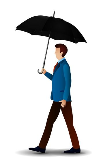 man in classic clothes is walking under an umbrella. Health protection in bad rainy weather. Vector in cartoon style