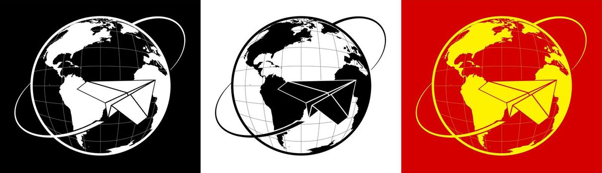 paper planes are flying against the background of the globe. Email concept. Delivery of letters. International air travel. Transportation of goods and passengers