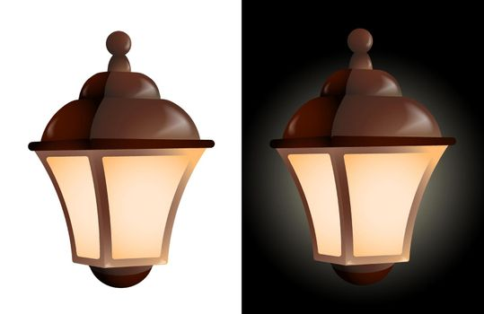 realistic street lamp with candle inside and translucent glass walls. Lanterns and lighting for holidays. Warm and cozy light. Color vector