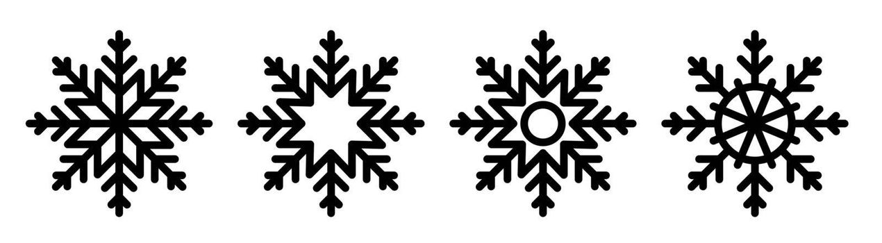 snowflake icon. Winter weather. Precipitation. Winter weather forecast. Black and white vector