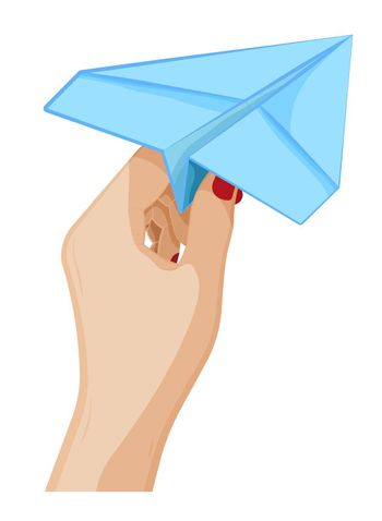 stewardess hand is neatly holding a paper airplane. Sends message by mail. Air transportation of passengers and cargo. International Civil Aviation Day. Cartoon vector on white