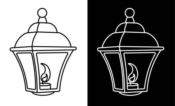street light with burning candles inside. Vintage style. Night romance of the big city. Street lighting at night. Icon. Black and white vector