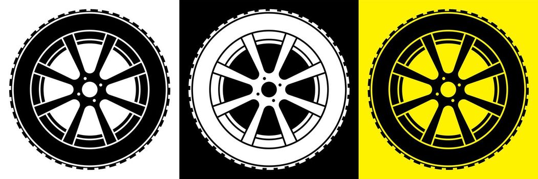 wheel with tire and winter rubber tread. Winter tires for car. Driving on slippery road. Driving safety. Vector in flat style