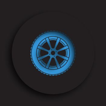 wheel with tire and winter rubber tread in neomorphism style on dark background. Winter tires for car. Driving on slippery road. Driving safety. Vector